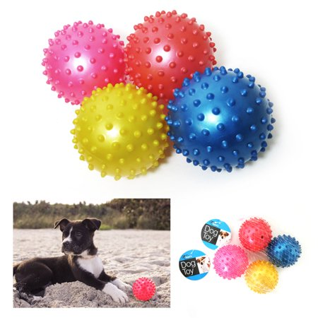 4 Pc Rubber Spike Dog Balls Fetching Pet Play Toys Squeaker Bouncing Fun Puppy Puppies Plain Leather