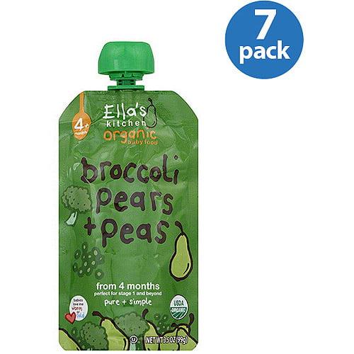 Ella's Kitchen Organic Broccoli, Pears & Peas Baby Food, 3.5 oz (Pack of 7)