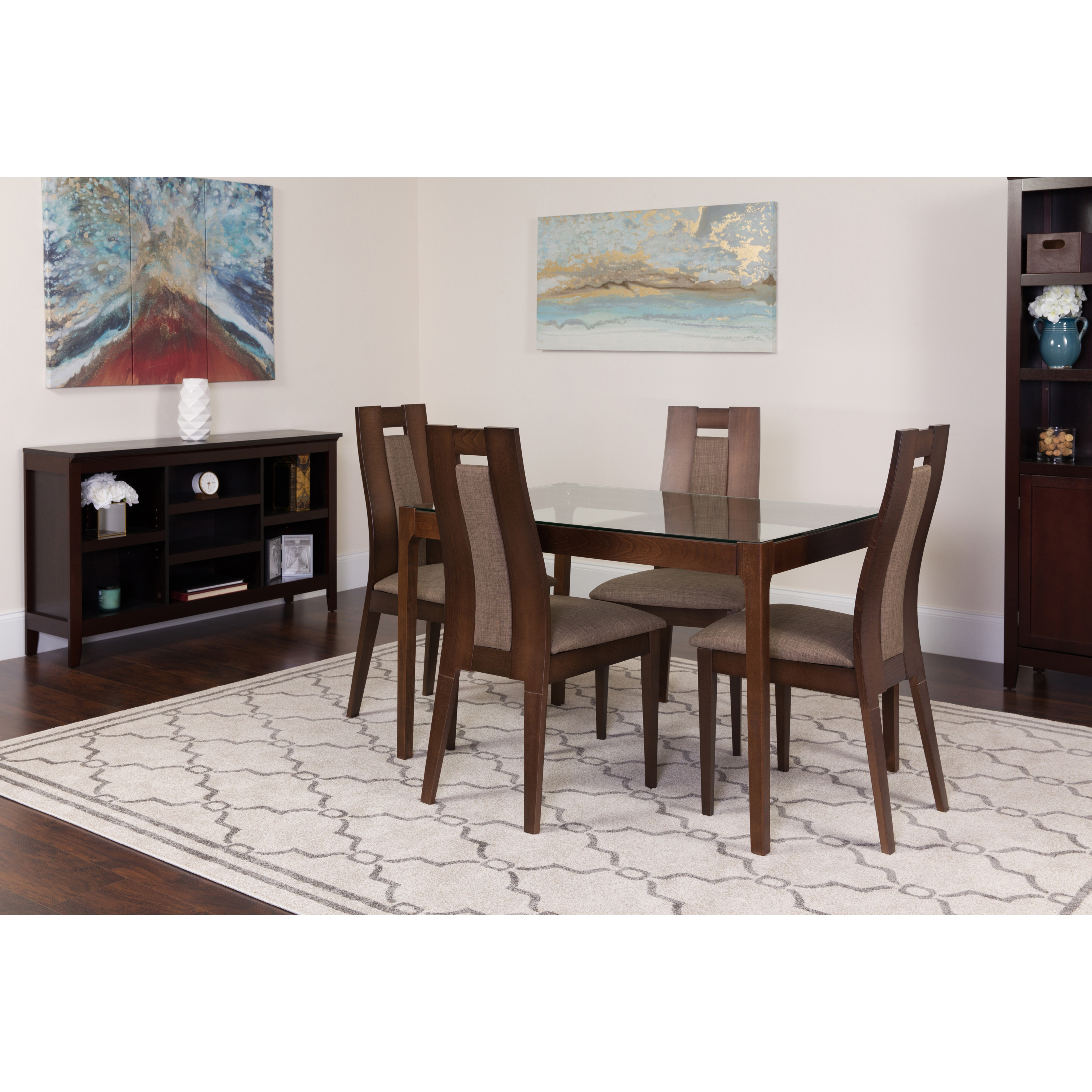 Flash Furniture Bishop 5 Piece Espresso Wood Dining Table Set With Glass  Top And Curved Slat