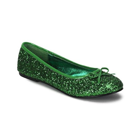 Cute Women's Ballet Flat Shoes Glitter Bow St Patricks Day Costume Accessory - St Patricks Day Shoes