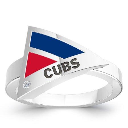 Chicago Cubs Bixler S Women S Engraved Diamond Geometric Ring