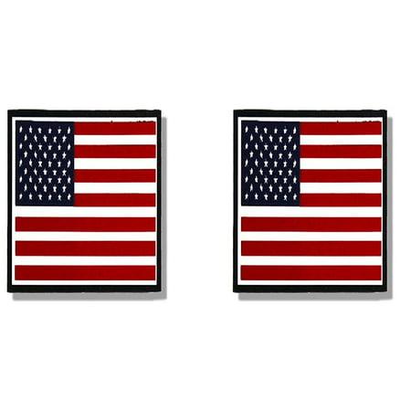 2 x PIC AMERICAN FLAG SMALL, Premium Sticker, Motorcycle, Bikers Helmet - (Pair) - 3