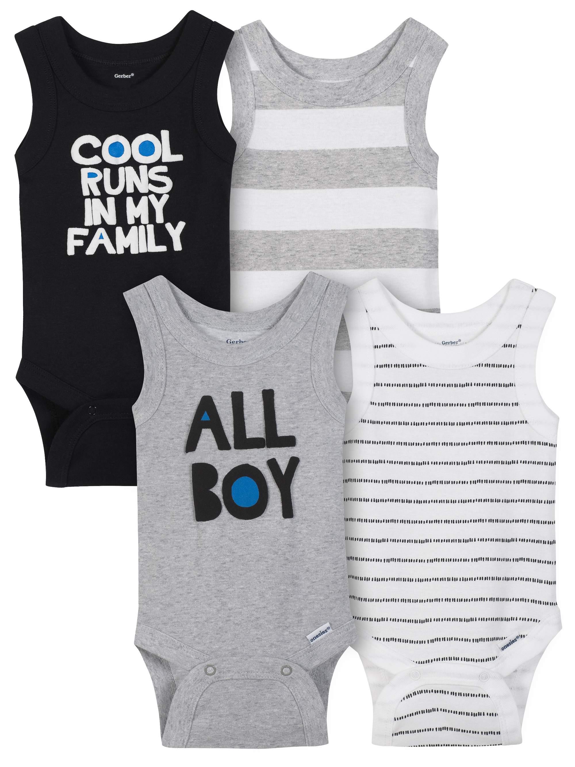 Sleeveless Tank Top Onesies Bodysuits, 4pk (Baby Boys)