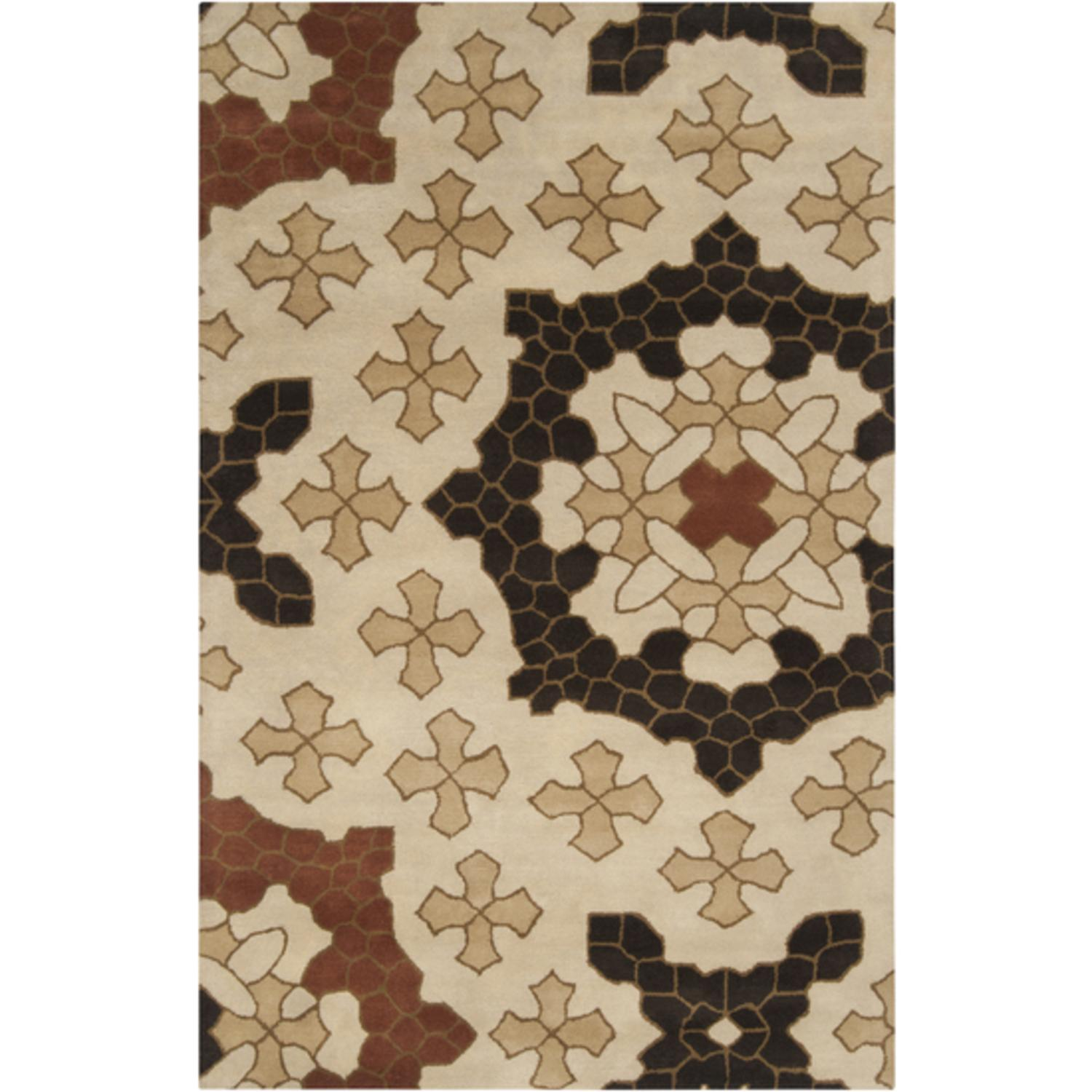 2' x 3' Floral Puzzle Pieces Dark Brown and Parchment Wool Area Throw Rug