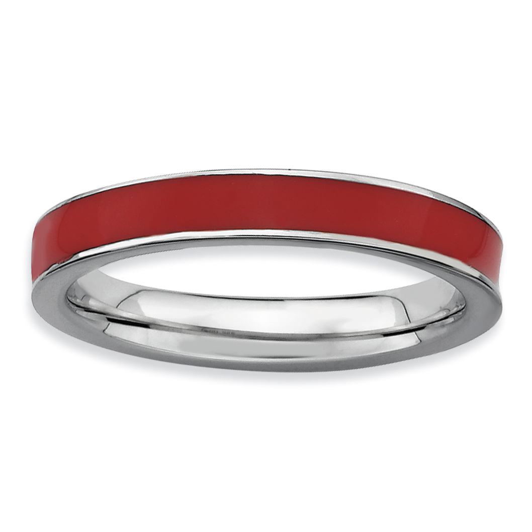 Sterling Silver Stackable Expressions Red Enameled 3.25mm Ring Size 6 - image 3 de 3