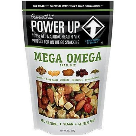 21669b31b9e Gourmet Nut POWER UP 100% All Natural Health Mix Mega Omega Trail Mix  Non-GMO, Vegan, Gluten Free, No Artificial Ingredients 14oz