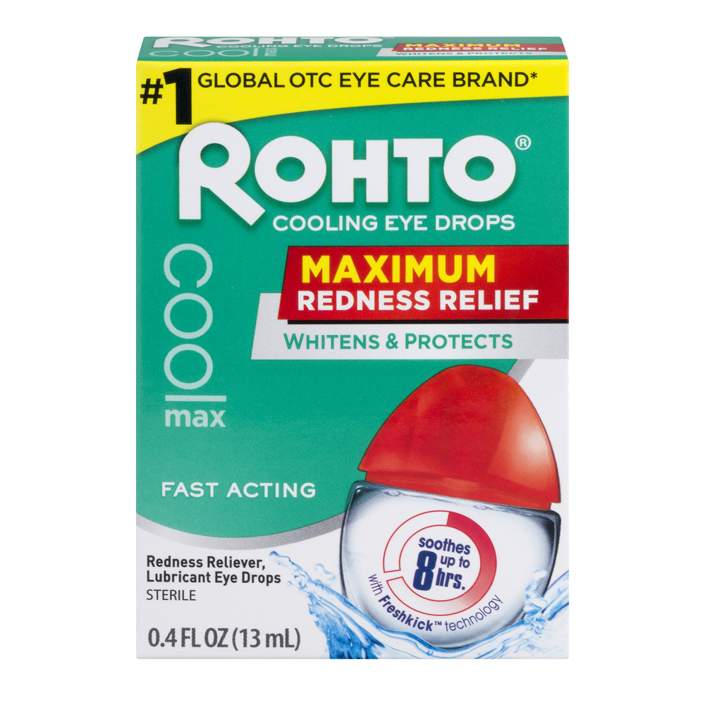 Rohto Cooling Eye Drops Maximum Redness Relief, 0.4 FL OZ