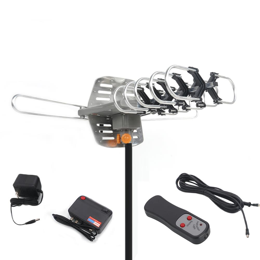 Ktaxon TV Antenna Amplified Long Range Outdoor HD Digital Rotating with RC + Pole