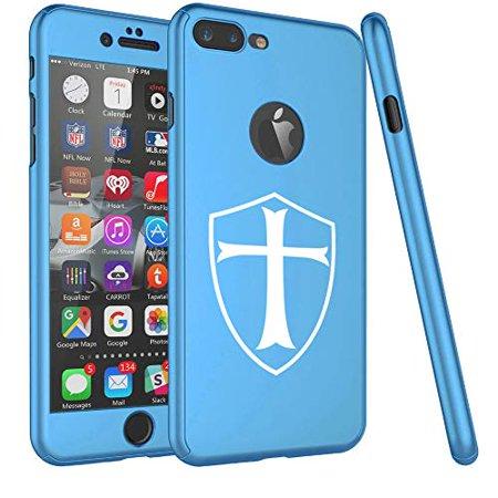 360° Full Body Thin Slim Hard Case Cover + Tempered Glass Screen Protector F0R Apple iPhone Templar Shield Knight Cross (Light-Blue, F0R Apple iPhone 6 Plus / 6s Plus)