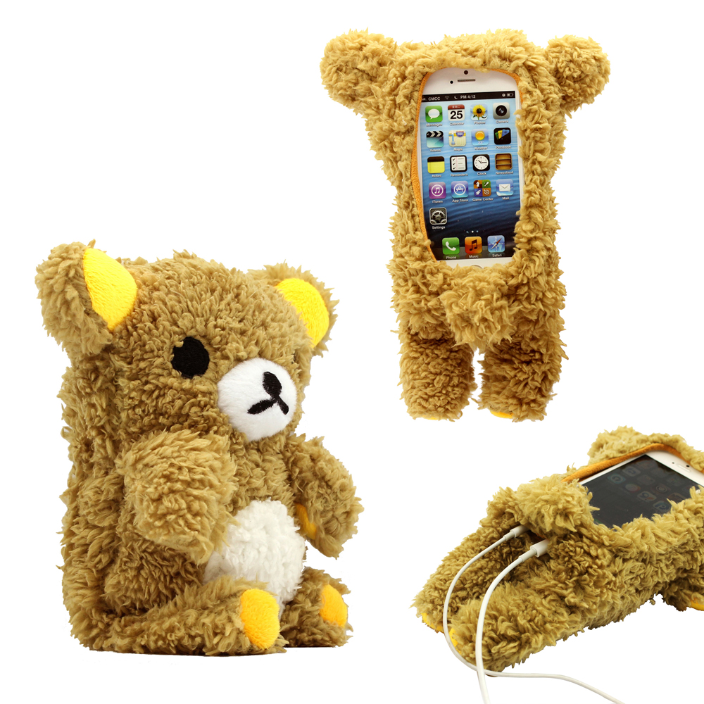 GEARONIC 3D Cute Doll Toy Cool Plush Teddy Bear Cover Shockproof Dirt Dust Proof Case for Apple iPhone 4 4S 4G 5 5S 5C