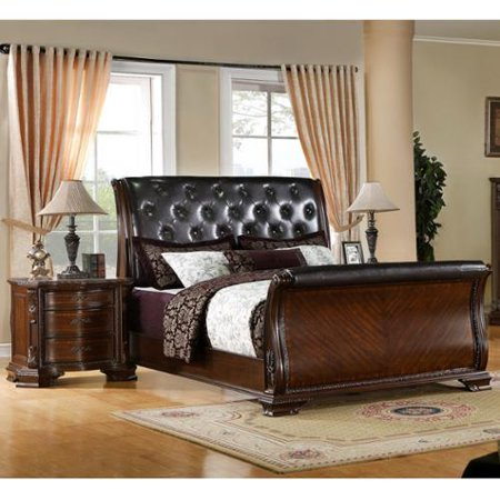Furniture of America Luxury Brown Cherry Leatherette Baroque Style Sleigh Bed with Nightstand Bedroom Set Queen Bed