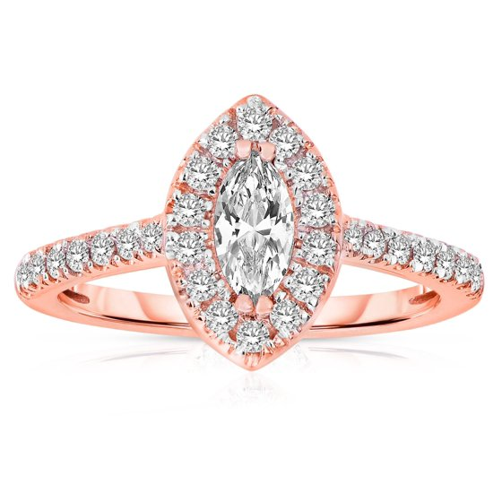 7a0b3592b4099 Half Carat Marquise cut Halo Diamond Engagement Ring in Rose Gold