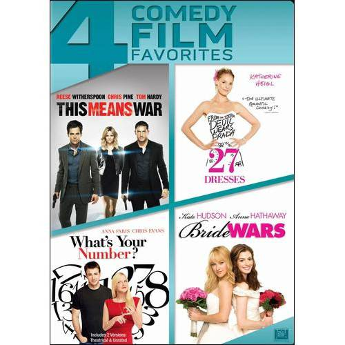 4 Comedy Film Favorites: This Means War   27 Dresses   What's Your Number?   Bride Wars by