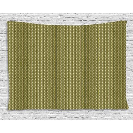 Vintage Tapestry, Geometrical Simple Exotic Vertical Borders with Stripes and Zigzag, Wall Hanging for Bedroom Living Room Dorm Decor, 60W X 40L Inches, Pistachio Green and Brown, by Ambesonne