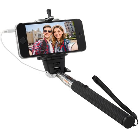 knox monopod selfie stick with cable and single button shutter black walm. Black Bedroom Furniture Sets. Home Design Ideas