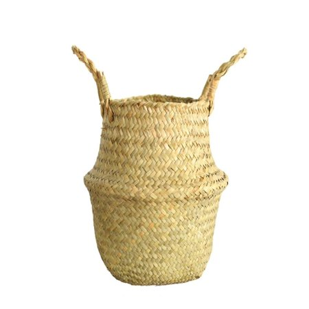 OkrayDirect Seagrass Wicker Basket Wicker Basket Flower Pot Folding Basket Dirty Basket YE