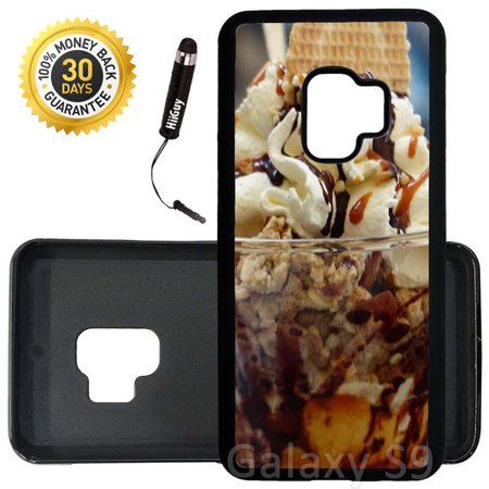 Custom Galaxy S9 Case (Yummy Ice Cream Sundae) Edge-to-Edge Rubber Black Cover Ultra Slim | Lightweight | Includes Stylus Pen by Innosub
