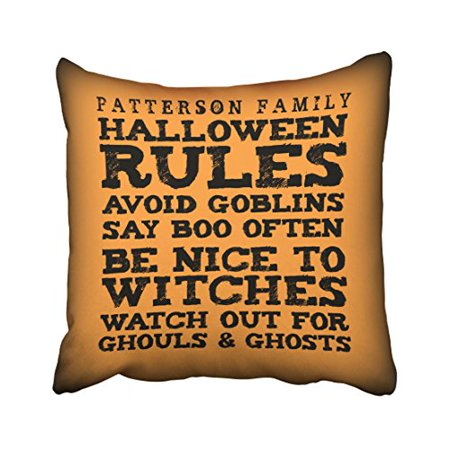 WinHome Personalized Halloween Rules Decor Pillow Covers Cushion Cover Case 18x18 Inches Pillowcases Two Side