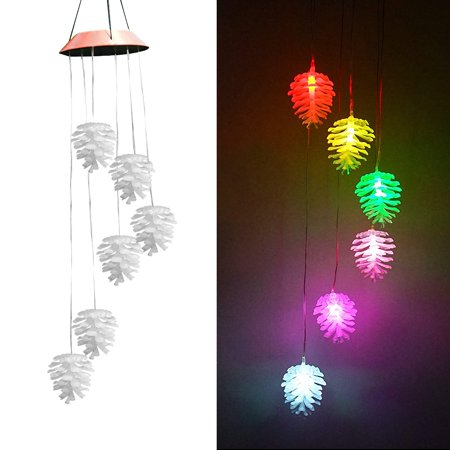 Adjusted Manual Wind (Christmas Pine Cone Pattern Solar Aeolian Bells Home Decorations Manual Creative Pendant Garden Decoration Wind Chimes )
