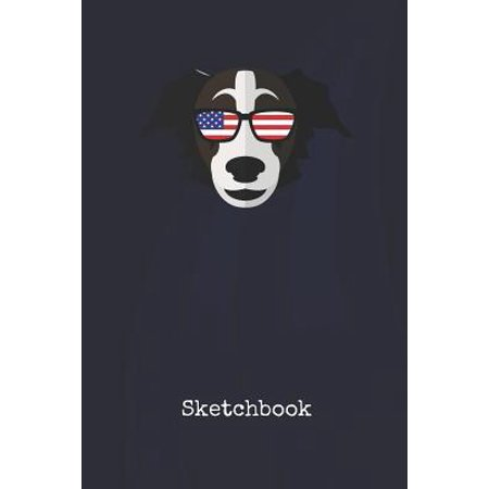 Sketchbook: Border Collier America - Blank Writing Journal - Patriotic Stars & Stripes Red White & Blue Cover - Daily Diaries for Paperback