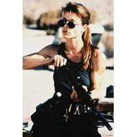 Linda Hamilton Terminator 2 24x36 Poster iconic in vest & sunglasses loading rifle