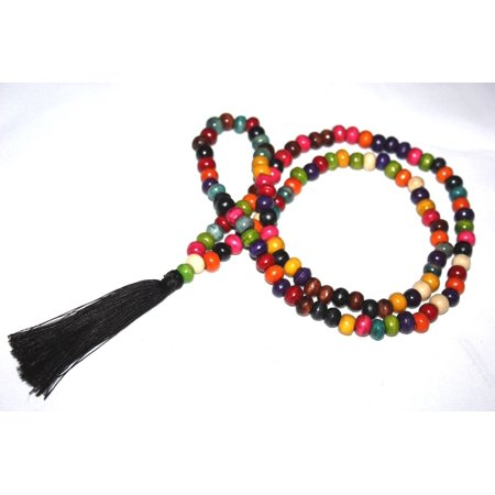Tassel Necklace Buddha Multi-Colored Wooden Beads Jewelry | #cik3601mc