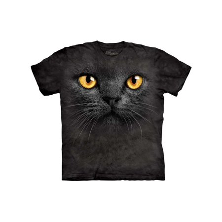 Black Panther Big Cat - Adult Black 100% Cotton Big Face Black Cat T-Shirt NEW