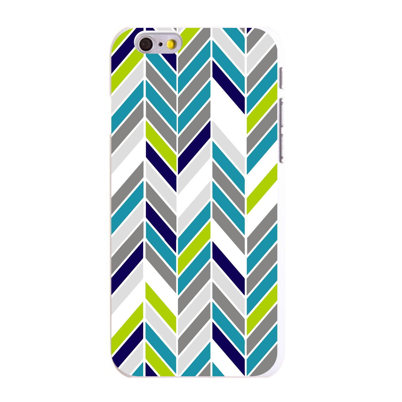 "CUSTOM White Hard Plastic Snap-On Case for Apple iPhone 6 / 6S (4.7"" Screen) - Teal Navy Grey Herringbone"