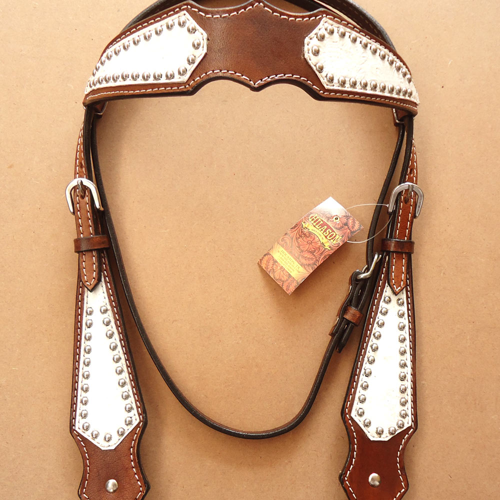 HILASON WESTERN AMERICAN LEATHER HORSE BRIDLE HEADSTALL BROWN WHITE FLORAL