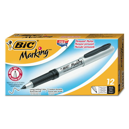 BIC Mark-It Permanent Marker, Ultrafine, Black, 1-Dozen