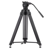 KINGJOY VT-2500 Professional Mg-Al Alloy Video Photo Tripod Kit 360°Panorama Pan Fluid Ball Head for DSLR Camera Video Recorder DV Max Height 61 Inch Max Load 15KG