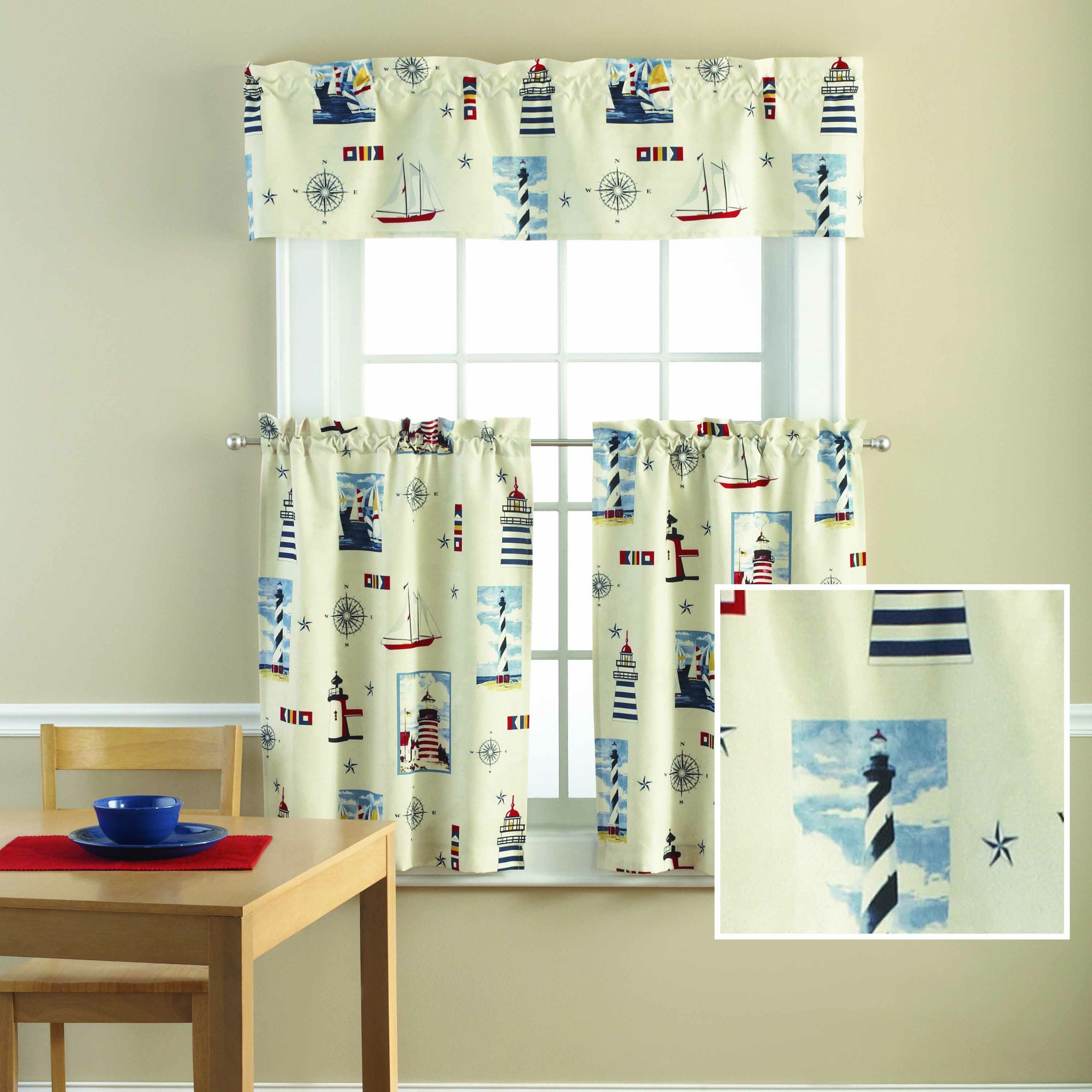 Gentil Mainstays Lighthouse Printed Valance And Kitchen Curtains Set