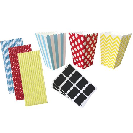 Circus Party Kit with Popcorn Boxes, Labels and Straws