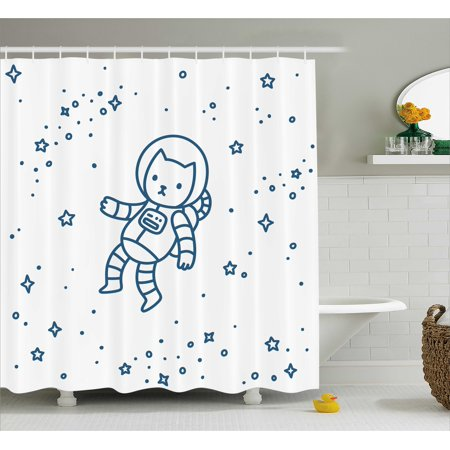 Kids Shower Curtain Cute Cartoon Astronaut Pioneer Cat Flying In Outer Space Doodle Style Constellation Fabric Bathroom Set With Hooks Dark Blue