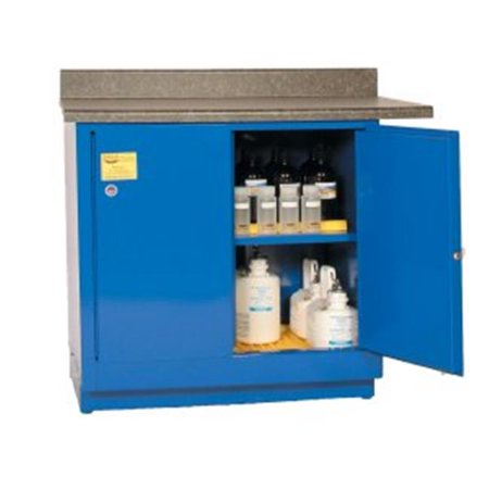Acid And Corrosive Safety Storage Cabinets - Blue Two Door Manual One Shelf