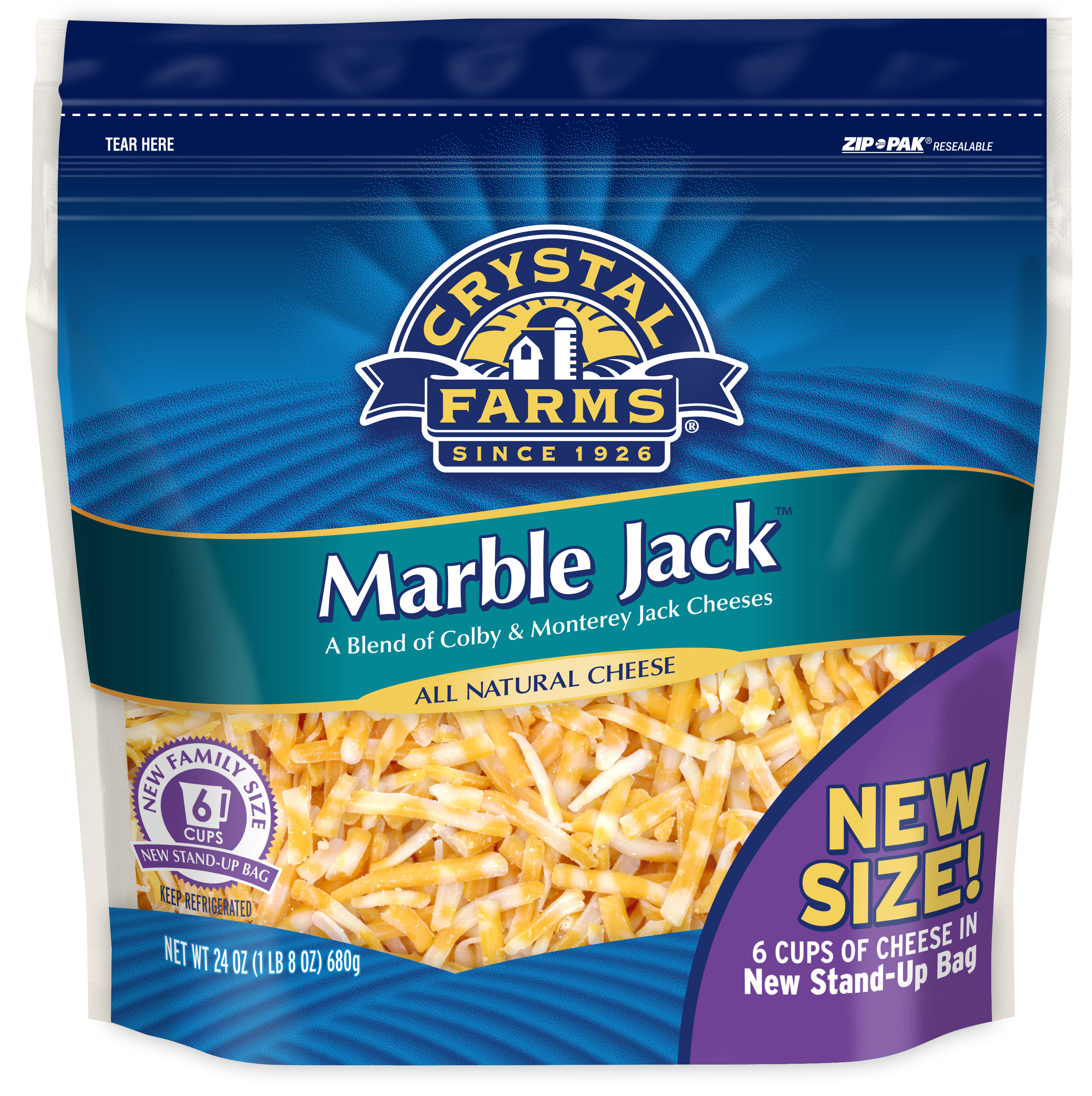 Crystal Farms Marble Jack Shredded Cheese, 24oz