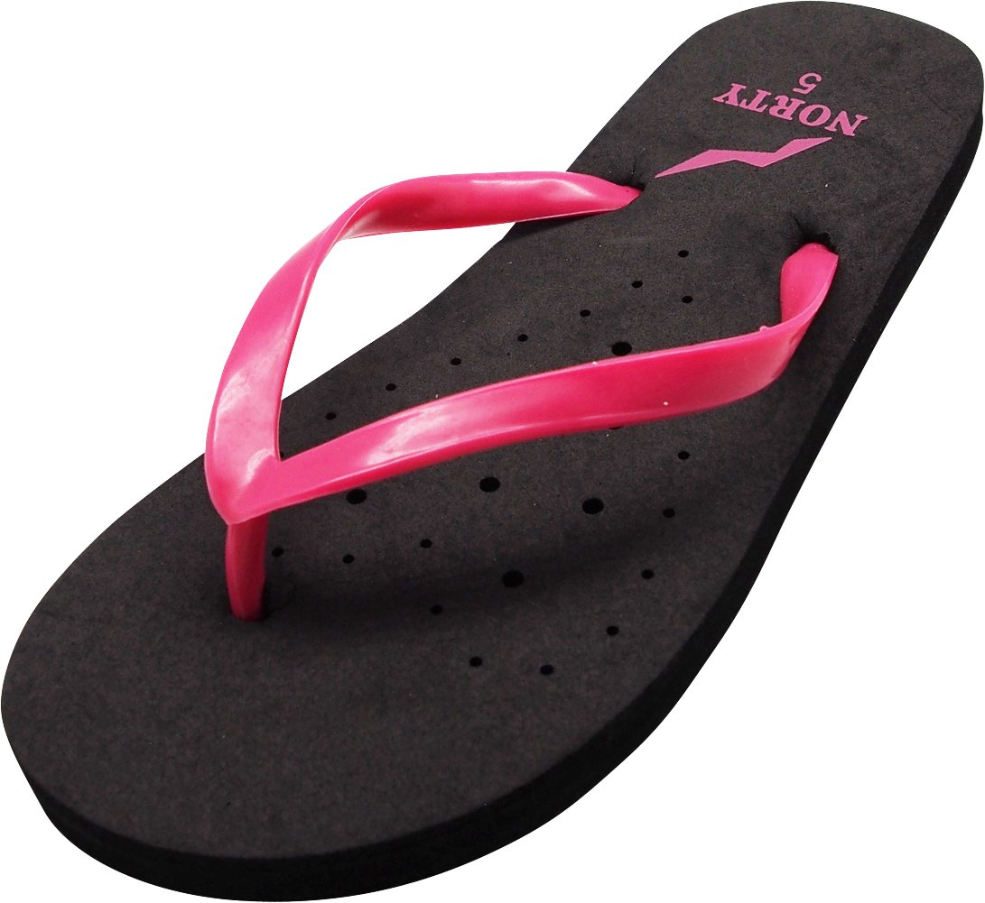 Norty Girls Summer Comfort Casual Thong Flat Flip Flops Sandals Slipper Shoes, 40327 Black-Fuchsia / 11MUSLittleKid