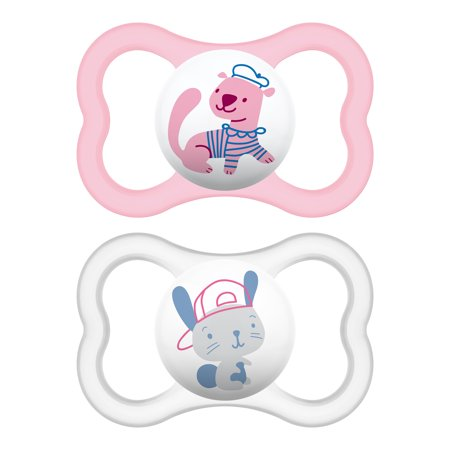 MAM Sensitive Skin Pacifiers, Baby Pacifier 6+ Months, Best Pacifier for Breastfed Babies, Air' Design Collection, Girl, 2-Count