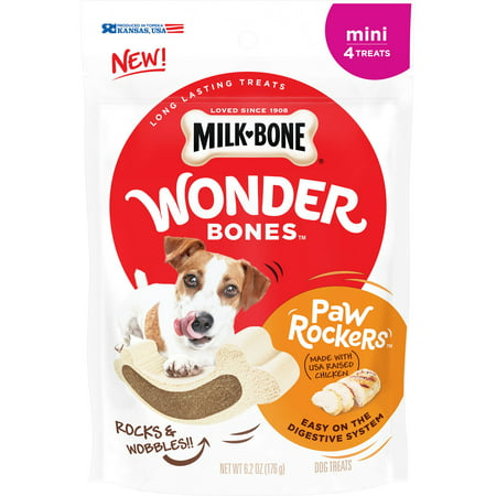 Milk-Bone Wonder Bones Paw Rockers with Real Chicken, Long Lasting Dog Treats, Mini, 6.2 (Paw Print Dog Bones)