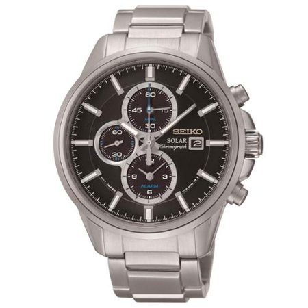 Seiko Men's SSC267 Solar Alarm Chronograph Black Dial Watch by