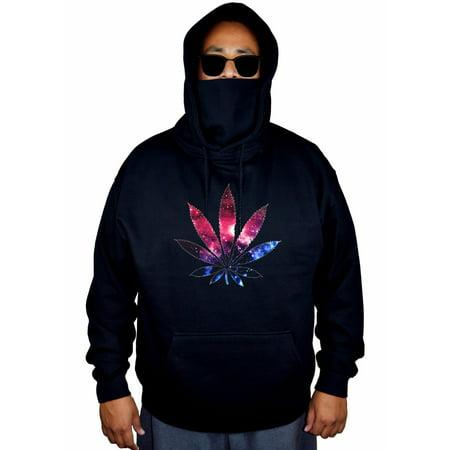 Men's Galaxy Weed Leaf High Black Mask Hoodie Sweater Large Black