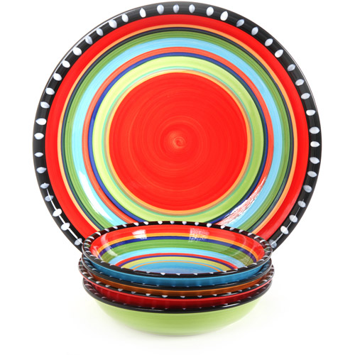 "Gibson Home Pueblo Springs Handpainted 5-Piece 13"" Serving Bowl and 8"" Bowls Set, Multi-Color"