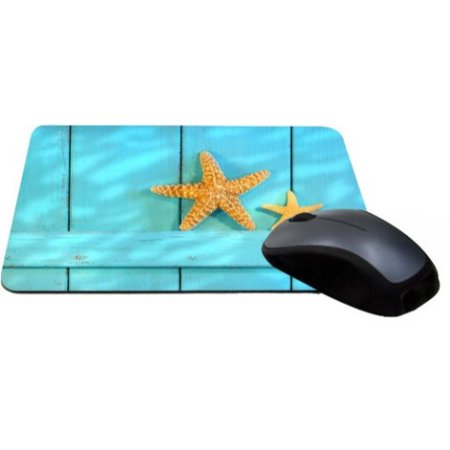 Rikki Knight Starfish On Blue Rustic Door Lightning Series Gaming Mouse Pad