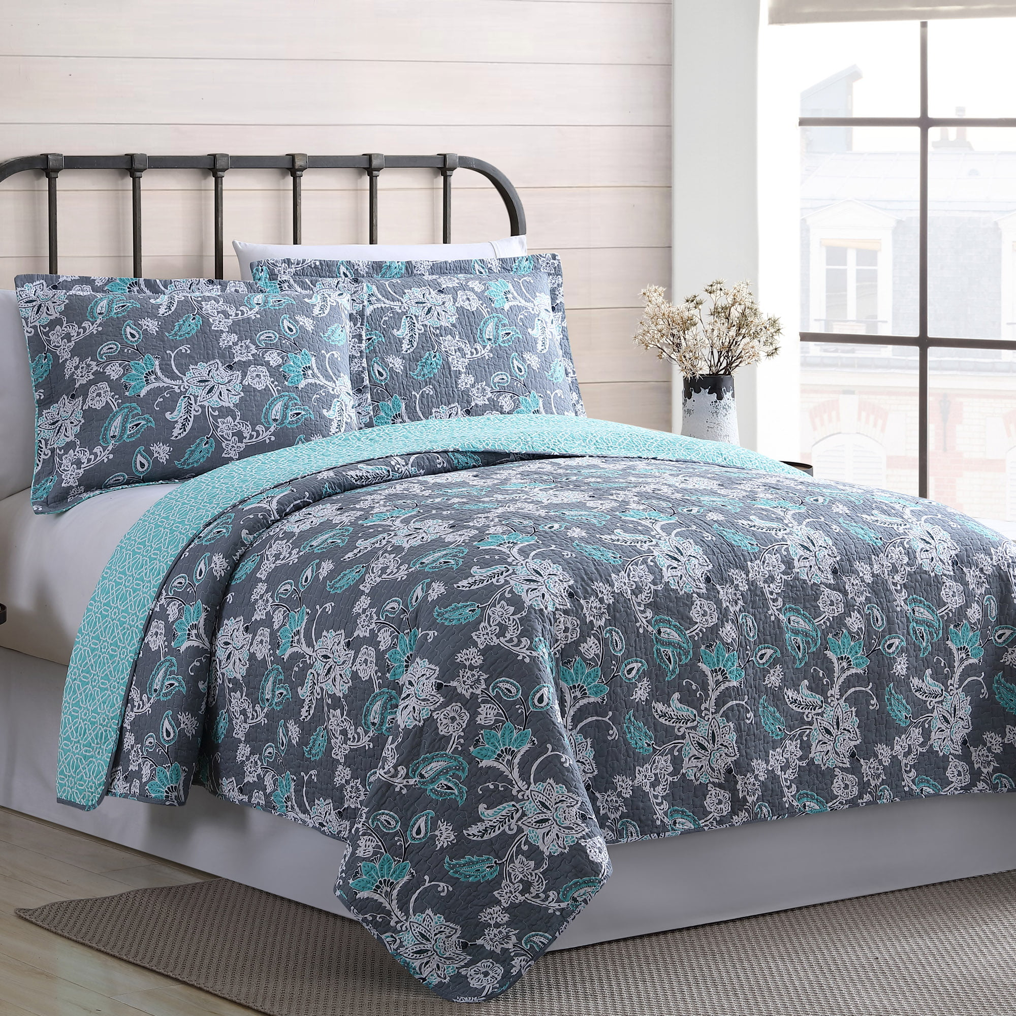 Modern Threads 100% Cotton 3 Piece Printed Reversible Quilt Set - Agnes King