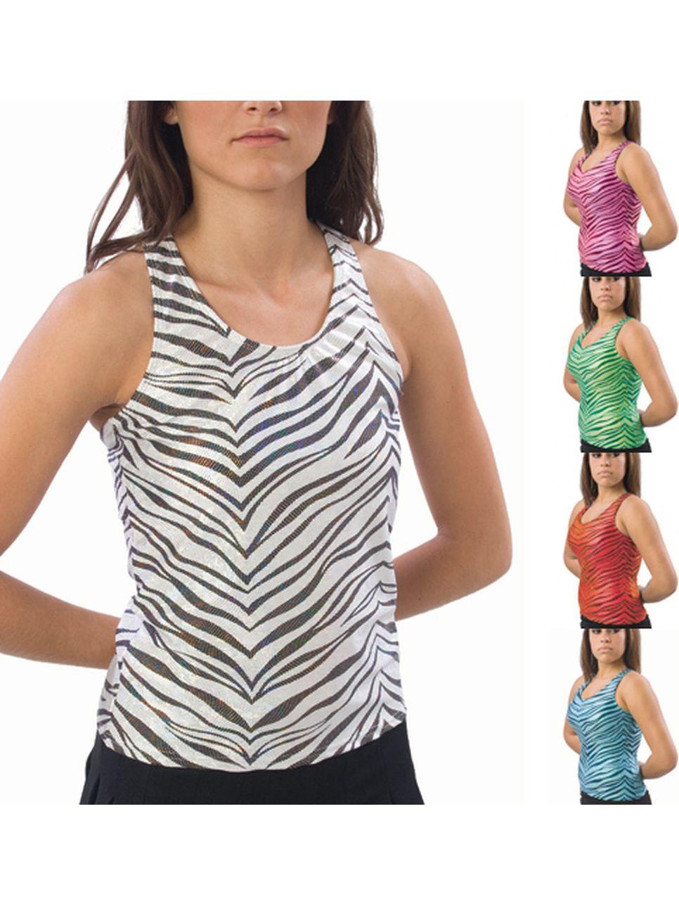 Pizzazz Girls Multi Color Zebra Glitter Racer Back Top Youth