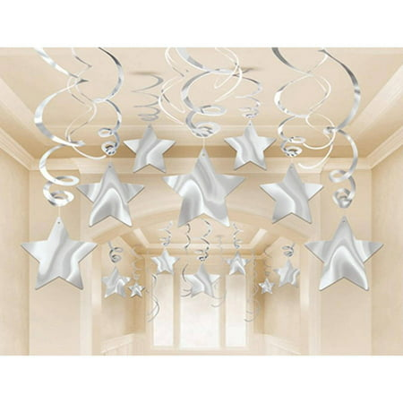 Silver Mega Value Pack Star Swirl Decorations, 30 (Silver Stars Decorations)
