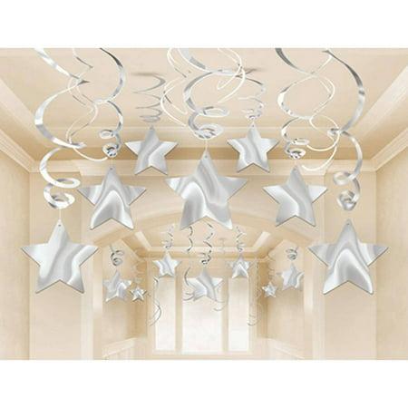 Silver Mega Value Pack Star Swirl Decorations, 30