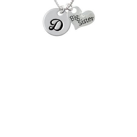 Large Script Letter   D   3 4 Disc   Big Sister Heart Necklace  18  2