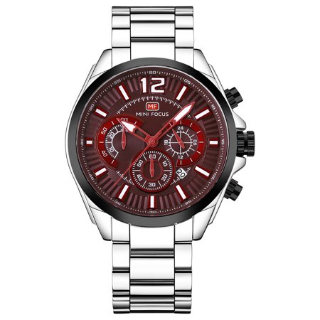 Mens Quartz Watch Brownish Red Dial Solid Steel Belt Second Subdial Date for Friends Lovers Best Holiday Gift