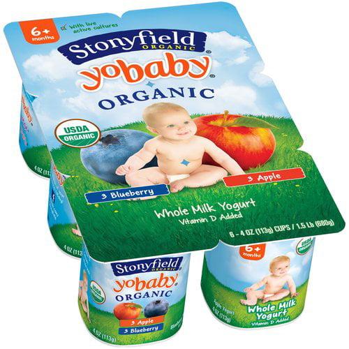 Stonyfield Organic YoBaby Blueberry/Apple Whole Milk Yogurt, 4 oz, 6 count